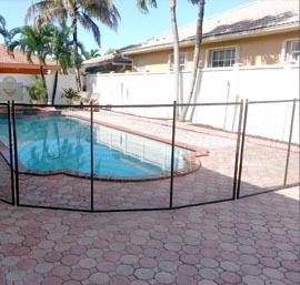 Pool Fence on Brick Pavers