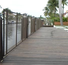 Pool Fence on Wooden Dock